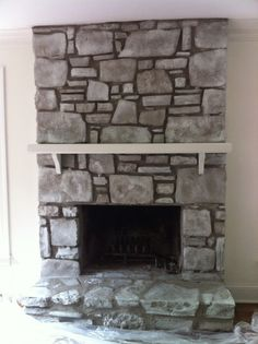 transform rock fireplace from 1970s orangey ick to lovely gray