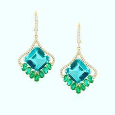 Blue/Green Tourmaline & Emerald earrings