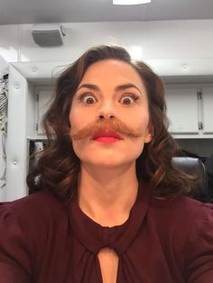hayley atwell on the set of agent carter