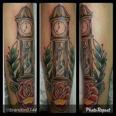 Kustom Thrills Tattoo @Kustomthrills Instagram photos | Nashville TN Grandfather clock tattoo by Brandon Henderson