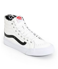These high top shoes are made with a slim design and a White leather upper that contrasts the leopard print padded lining for a wildly fresh look.