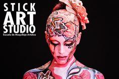 Trabajo realizado por Corinne Pérez, directora y fundadora de Stick Art Studio, escuela de Maquillaje Artístico en Barcelona Stick Art, Airbrush Makeup, Creative Makeup, Face And Body, Body Art, Make Up, Fantasy, Paint Ideas, Tattoos
