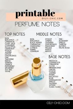 Use our perfume notes chart essential oil printable to make an incredible homemade perfume!