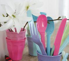 Plastic dishes by Søstrene Grene