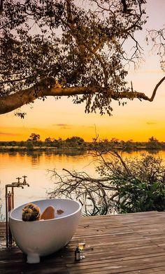 #sunset #zambia #bath #bathtub #tub #bubblebath #travel #africa #romance #romantic #safari #kafue #river
