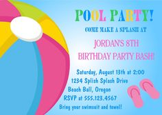 Pool Party Birthday Invitation / Printable by traditionsbydonna