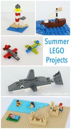 Six Summer LEGO Projects to Build - Frugal Fun For Boys and Girls - Six Summer LEGO Projects to Build – Make a lighthouse, cactus, mini pirate ship, airplanes, beach - Lego Projects, Garden Projects, Projects For Kids, Crafts For Kids, Project Ideas, Garden Ideas, Lego Club, Lego Toys, Lego Duplo