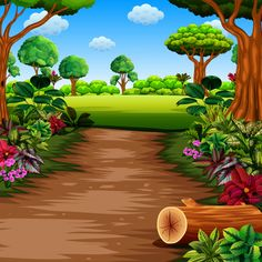 Forest With Footpath Photo Frame Wallpaper, Framed Wallpaper, Flower Background Wallpaper, Flower Backgrounds, Kids Background, Cartoon Background, Farm Cartoon, Kindergarten Art Lessons, Boarders And Frames