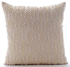 Decorative Throw Pillow Covers Accent Couch Bed by TheHomeCentric accent bedroom Beige Decorative Pillow Cover, Cotton Linen Pillows Cover, Square Pearls Leaf & Flowers Floral Theme Pillows Cover - Pearl Essence Couch Throws, Sofa Throw, Couch Pillows, Sofa Bed, Beige Couch, Pink Sofa, Couch Cushion Covers, Throw Pillow Covers, Diy Pillows
