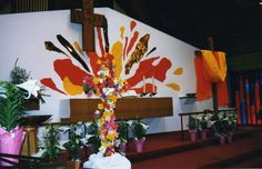 Easter ~ St. Mark Lutheran Church, Lacey, Washington is unique in that the wall behind the altar serves as a huge canvas for artistic creations. St. Mark's retired Pastor, David Nelson (1996 – 2006) uses the wall behind the altar as a canvas. Every Advent season, and every Lenten season, a picture unfolds. Each week something is added until the culmination of Christmas and Easter. Over the years, the wall has been transformed again and again into a beautiful work of art.