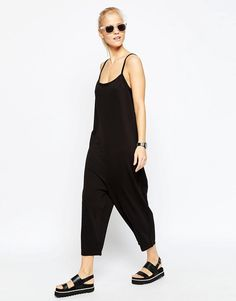 Image 4 of ASOS Minimal Jersey Jumpsuit with Cami Straps and Wide Leg in Texture