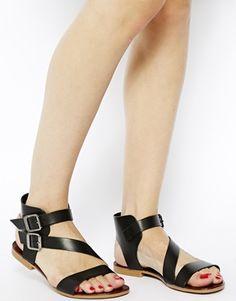 ASOS- ALDO - Sandales plates asymétriques en cuir - Noir