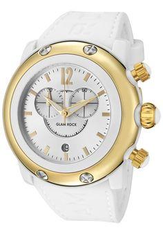 Glam Rock Women's Miami Beach Chronograph Silver Dial Gold Tone Cover White Silicone Women's Watch GW25121 $158