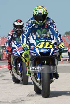 Valentino Rossi #46 and Jorge Lorenzo # 99 of Movistar Yamaha MotoGP team are seen on the pit lane during MotoGP of San Marino Free Practice at Misano World Circuit on September 9, 2016 in Misano Adriatico, Italy.
