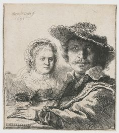 Self-portrait with Saskia by @artrembrandt #baroque