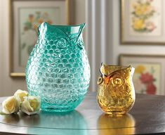 AMBER POP OWL VASE (Item # 10016186)   A little bit of geometric pattern, a lot of that undeniable owl charm, and a whole lot of style! The rich amber coloring of this unique glass decorative vase makes it a great room accessory, even when its empty.    worthajoygifts.com