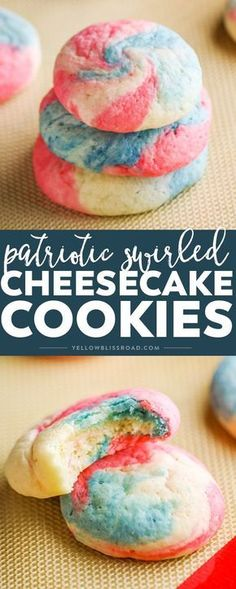 These Patriotic Cheesecake Cookies are an adorable version of our classic cookie. Created in a swirl of red, white and blue, they are the perfect dessert for Fourth of July! desserts for christmas 4th Of July Desserts, Fourth Of July Food, July 4th, French Desserts, Memorial Day Desserts, Blue Desserts, French Recipes, Sweet Recipes, Yummy Recipes