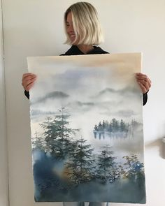 "Malin Mossberg on Instagram: ""🌲🌲🌲 - - - - #akvarell #artwork #aquarelle #artlife #shinrinyoku #inredningsdetaljer #interiordetails #galleri #gallery #arte #artist"""