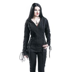 Lace Hood - Hooded zip by Gothicana by EMP