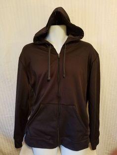 Champion Mens Hoodie Zip Up Hooded Sweatshirt Size Large Black Gray Mesh #Champion #Hoodie