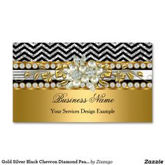 Gold Silver Black Chevron Diamond Pearl Floral Double-Sided Standard Business Cards (Pack Of 100)