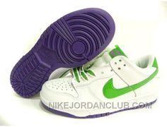 Nike Dunk Low White/Purple/Brilliant Green Shoes For Women