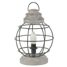 Lampe � poser Tempete en manguier et m�tal Werk Jardin d'Ulysse