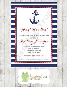 Nautical Baby Shower Invitation  Printed or by DancingFrogInvites, $9.99