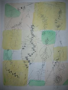 """Paul-Klee  'Insecten (Schopfungsplan 24) [Insects(Plan of Creation 24)]  1919  Lithograph with watercolor stencil  8 1/8 x 5 13/16"""""""