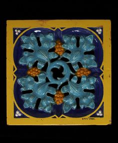 Tile Majolica A. Pugin 1850 Manufactured by Minton Clay Tiles, Mosaic Tiles, Minton Tiles, Art Nouveau Tiles, Unique Tile, Artistic Tile, Glazed Tiles, Vintage Tile, Decorative Tile