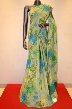 Gorgeous Green Abstract Floral Printed Crepe Silk Saree Product Code: AB207068 Online Shopping: http://www.janardhanasilk.com/Saree-Collections/Printed-Crepe-Saree?product_id=3562