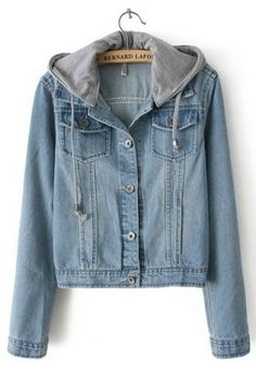 Light Blue Hooded Long Sleeve Bleached Denim Crop Jacket