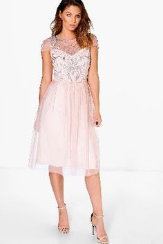 #boohoo Chiara Embellished Babydoll Dress - nude DZZ78029 #Boutique Chiara Embellished Babydoll Dress - nude