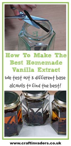 Homemade Vanilla Extract is super easy to make. In this DIY tutorial we test out 3 different base alcohols and share which one we think is the best. Vanilla Extract Without Alcohol, Vanilla Extract Recipe, How To Make Homemade, Homemade Gifts, Diy Gifts, Body Peeling, Best Alcohol, Easy Smoothie Recipes, Vanilla Custard