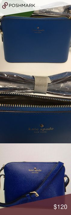 👛NEW KATE SPADE IRINI LEATHER CROSSBODY 👛 Beautiful deep blue Kate spade cross body is fabric lining zipper closure 22 inch shoulder drop called printed Kate Spade New York signature with spade cut out interior has the slide pocket as well as the zipper pocket kate spade Bags Crossbody Bags