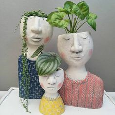 head planters lady planters girl planters woman planters for houseplantsWhen you have plants on the brain 🧠🤣 Repost from using - So in love with this trio from…Your styling is always impeccable. Thanks for sharing your new family portrait Pot Face Planters, Ceramic Planters, House Plant Care, House Plants, Ceramic Pottery, Ceramic Art, Plantas Indoor, Decoration Plante, Clay Projects