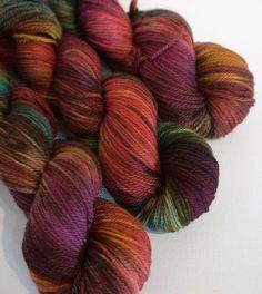 Hand dyed merino dk yarn scarf shawl socks hat by FiberArtemis, $19.50