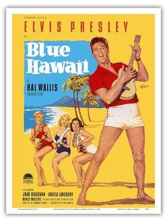 Elvis Presley In Blue Hawaii Goetze 1961 Vintage Film Movie Poster Print