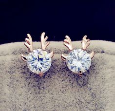 Aliexpress.com : Buy New Fashion accessories jewelry rose gold filled Big crystal stone Antlers stud gift for women girl Top quality E2563 from Reliable gift for a birthday suppliers on just do my best | Alibaba Group