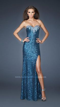 { 18982 | La Femme Fashion 2013 } La Femme Prom Dresses - Sequined Gown - Open Criss Cross Back - Jeweled Neckline - Side Slit