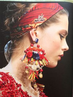 New Dolce and Gabbana Clip Earrings in Raffia Multicolor Miss Sicily s s 2013 | eBay
