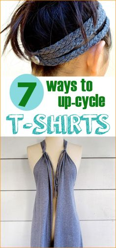 7 Ways to Upcycle T-Shirts.  Creative no-sew and sew projects using t-shirts.