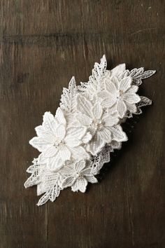 The LILLIAN beaded and floral lace wedding headpiece in white | Handmade wedding accessories by @Percy Handmade