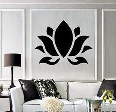 Create a relaxing refuge in your home with lotus flower wall art. You can use lotus flower wall decor in any room of your home but especially bedrooms, living rooms and bathrooms. Although I love it in my office. You can find cute lotus flower clocks, lotus flower wall tapestries, lotus flower wall decals, lotus flower wall murals that loook cute. Large Vinyl Wall Decal Lotus Flower Buddhism Hinduism Yoga Stickers (394ig) Dark Blue