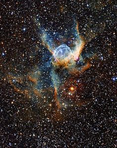 The Thor's Helmet Nebula                                                                                                                                                                                                                       Name:NGC 2359 Type:• Milky Way : Star : Type : Wolf-Rayet • Milky Way : Nebula : Type : Star Formation • X - Nebulae Distance:15000 light years Constellation:Canis Major Credit: ESO