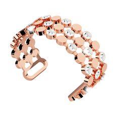 Rose Gold Cuff Bracelet with Swarovski crystals. Available at 14 Karat Omaha.