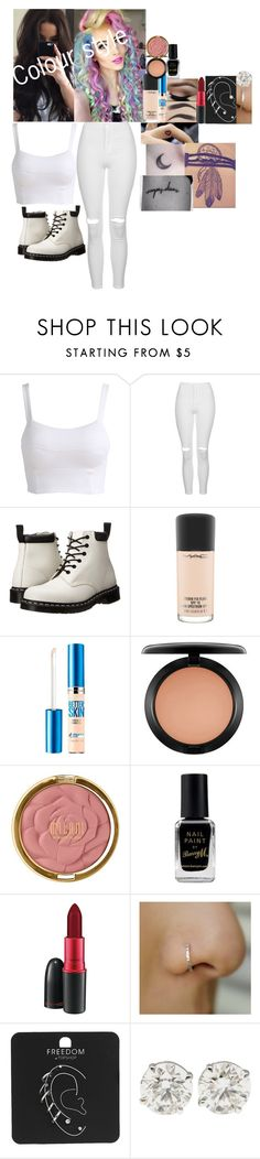 """Funhouse music video{2011}"" by fuckmeirwin ❤ liked on Polyvore featuring Topshop, Dr. Martens, MAC Cosmetics, Maybelline, Milani and Barry M"