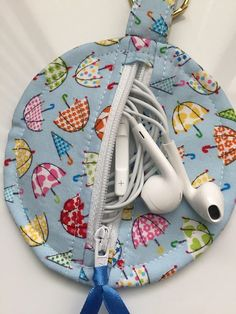 Cute Umbrella Fabric Circular Zippered Earbud Pouch Handmade