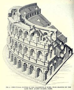 Roman Empire Arhitecture - Drawing of the structural system of the colosseum, Rome Architecture Romaine, Rome Architecture, Architecture Mapping, Classic Architecture, Architecture Drawings, Historical Architecture, Amazing Architecture, Architecture Details, Architectural Section