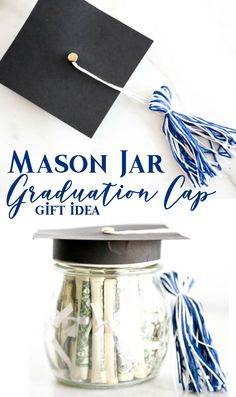 Surprise the deserving graduate with this adorable Mason Jar Graduation Hat Gift Idea filled with dollar bill diplomas.